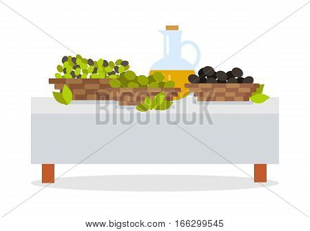 Fresh harvest of olives concept. Wicker baskets full of green and black olives, bottle with virgin olive oil standing on table covered white cloth flat vector illustration isolated on white background