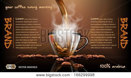 Realistic splash flowing coffee Mockup template for branding, advertise and product designs. Fresh steaming drink in a glass cup and Roasted beans