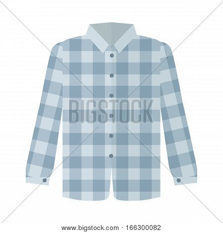 Checkered grey shirt with long sleeve icon. Man s everyday clothing, classic country style vector illustration isolated on white background. For clothing store ad, wear concept, app button, web design