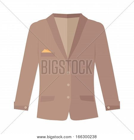Unisex jacket isolated on white. Woman and man double-breasted jacket. Cozy autumn clothes. Fashionable outerwear. Winter jacket icon flat style design. Fashion wear. Short coat illustration. Vector