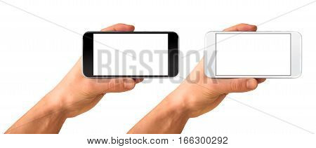 Smartphone horizontal in hand black and white color - blank screen isolated on white background mockup