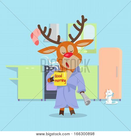 Morning drowsiness cartoon concept. Sleepy horned reindeer in bathrobe with cup of coffee and morning newspaper yawns in kitchen flat vector illustration. Waking from sleep. Tired after night party
