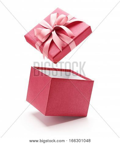 Pink open gift box isolated on white background - Clipping path included