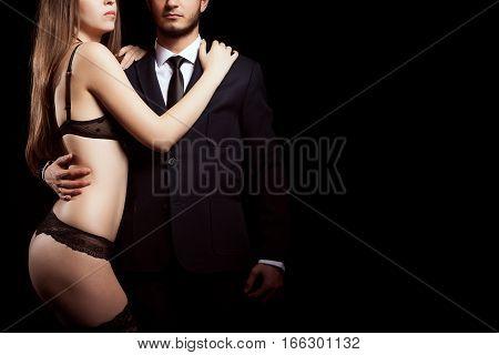 Sexy Couple Posing In Studio