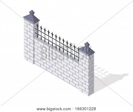 Brick fence section icon. Masonry barrier with lattice and shadow isometric projection vector illustration isolated on white background. For gaming environment, architecture element, app, web design