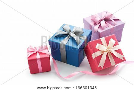 Gift box with ribbon isolated on white background - Clipping Path included