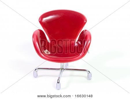 an isolated red chair on white
