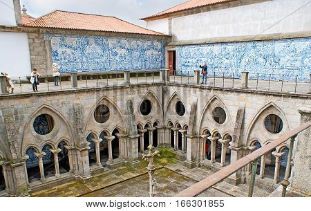 The Gothic Cloister Of Porto Cathedral