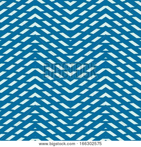 Blue vector endless pattern created with thin zigzag stripes seamless composition. Continuous interlace texture can be used as website background and as wrapping paper.