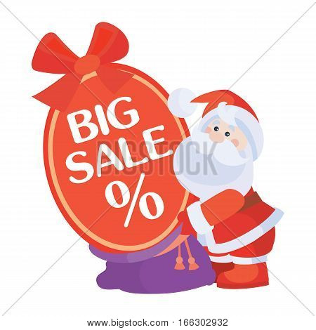 Christmas big sale vector. Flat design. Santa with sale poster. Simple xmas sticker with text and santa. For winter holidays shopping, discounts ads. Purchase gifts for holidays. On white background.