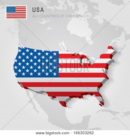 USA painted with flag drawn on a gray map.