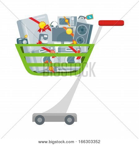 Sale in electronics store concept. Group of different home technics with labels and price tags in shopping trolley flat vector illustration isolated on white background. For holiday discount promotion