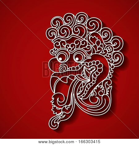 Mythological god s face. Balinese tradition. Vector file, EPS 10