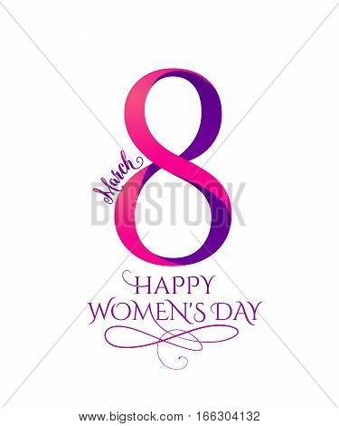 Vector illustration of 8 march womens day greeting in flat style with pink purple curved ribbon eight and typography lettering text sign isolated on white background