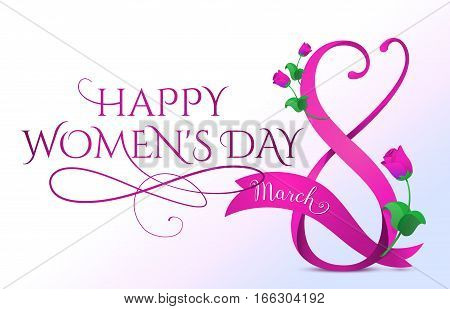 Vector illustration of happy 8 march womens day greeting in cartoon style with purple ribbon, curved eight, pink roses and typography lettering text sign isolated on white horizontal background