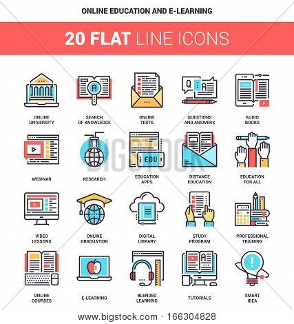 Vector set of online education and e-learning flat line web icons. Each icon with adjustable strokes neatly designed on pixel perfect 64X64 size grid. Fully editable and easy to use.