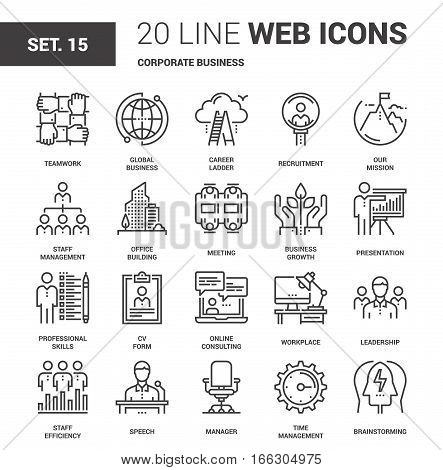 Vector set of corporate business line web icons. Each icon with adjustable strokes neatly designed on pixel perfect 64X64 size grid. Fully editable and easy to use.