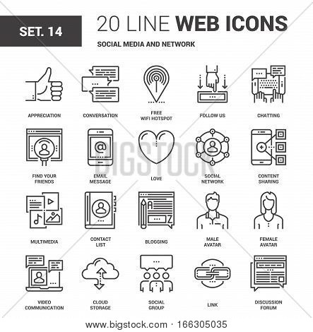 Vector set of social media and network line web icons. Each icon with adjustable strokes neatly designed on pixel perfect 64X64 size grid. Fully editable and easy to use.