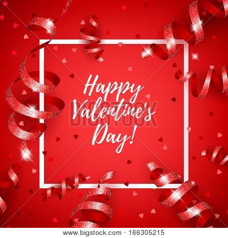 Happy Valentine's day lettering background with serpentine and heart confetti. Love symbol. Beautiful holiday poster banner flyer design.