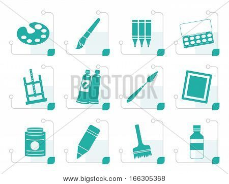 Stylized painter, drawing and painting icons -  vector icon set