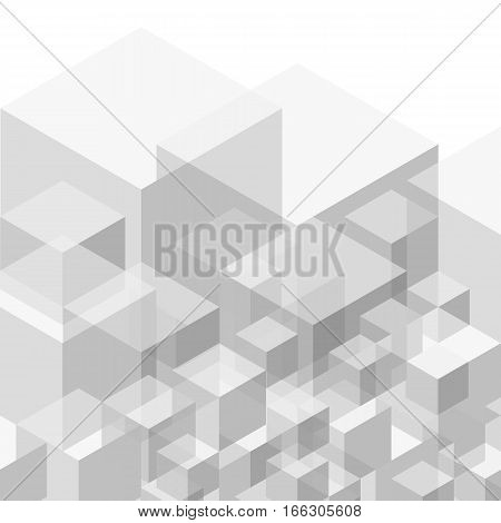 Abstract geometric background from gray cubes. Vector eps10