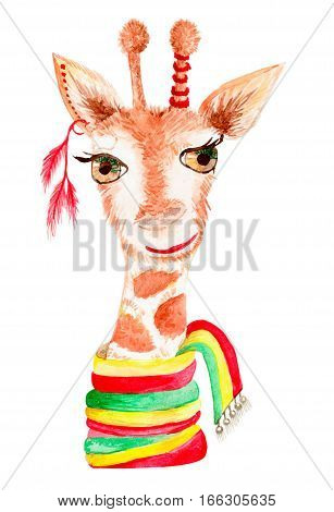 Drawing by hand a water color. Animal giraffe wearing a scarf, fashionable.