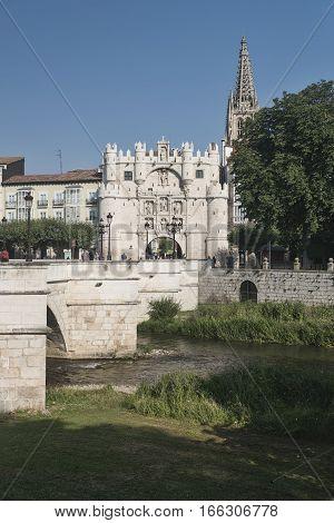 BURGOS, SPAIN - JULY 29, 2016: Burgos (Castilla y Leon Spain): exterior of historic buildings along the river