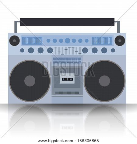 Vector flat illustration Boombox. Cassette recorder. Vector element for your creativity