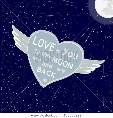 Romantic poster. Freehand drawn fancy cartoon style. Inspirational quote in heart symbol. Love you to the moon. Vector vintage Valentine day greeting card template, lovers weeding banner background