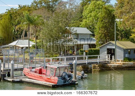 BROOKLYN AUSTRALIA - OCTOBER 14 2016: Dangar Island Public Wharf a stopping point for the Hawkesbury River mail boat service.