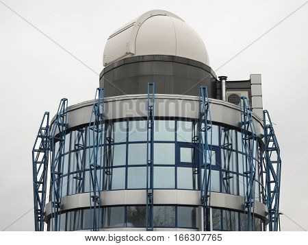 Modern building of astrological observatory telescope dome.