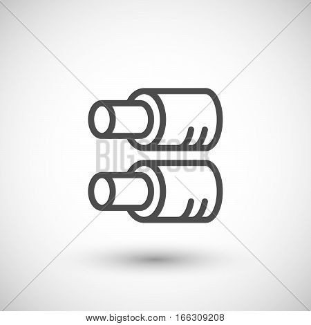 Tube insulation line icon isolated on grey. Vector illustration