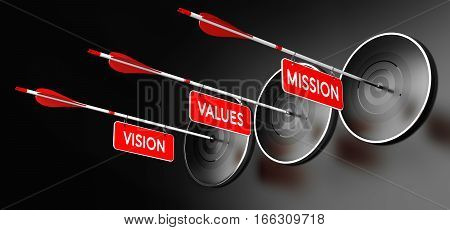 3D illustration of arrows with red signs where it is written vision mission and values hitting modern targets over black background. Company statements concept horizontal image.