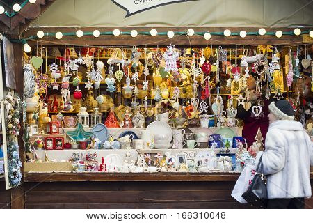 Lvov, Ukraine - 06.01.2017: Wooden kiosk with souvenirs and decorations for sale on Christmas Fair