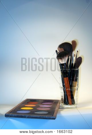 Set Of Make-Up Brushes And Make-Up Box