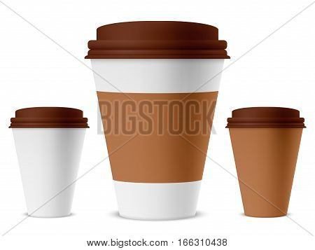 White and brown paper coffee cup with empty space. Branding mockup or template object