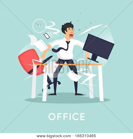Angry and exasperated office worker. Characters isolated. Flat design vector illustration.