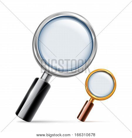 Silver and golden magnifying glass on white background