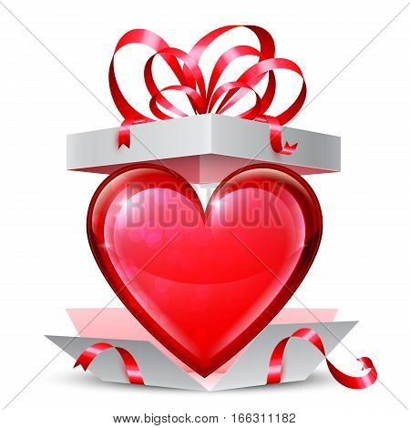 Opened gift box with big red heart inside