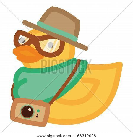 Hipster duck in hat and glasses with old camera