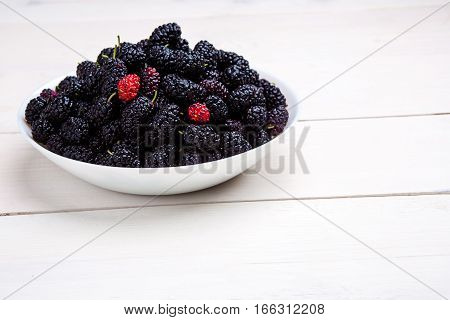 mulberry in white plate, top view. Still life