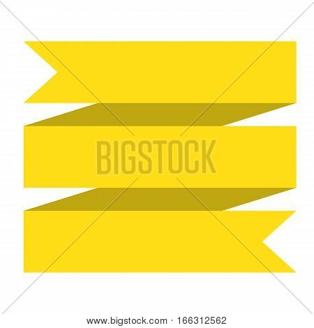 yellow ribbon banner on white background. yellow ribbon banner sign.