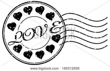 Grunge black love with icon round stamp with postmark on white background