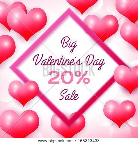 Big Valentines day Sale 20 percent discounts with pink square frame. Background with red balloons heart pattern. Wallpaper, flyers, invitation, posters, brochure, banners. Vector illustration.