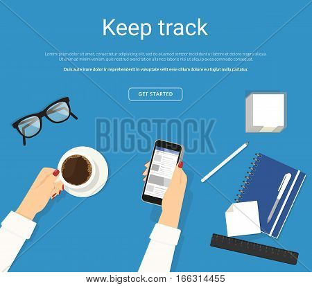 Online reading news in social networks. Female hands holds smartphone for keeping track of news and announcements. Flat concept illustration of news reading and drinking coffee on blue work desk