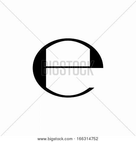 Estimated sign, E mark, E symbol isolated on white background
