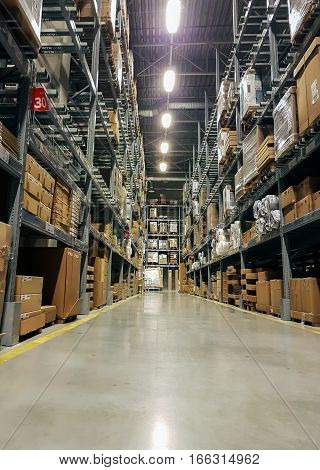 Warehouse interior. logistics and freight forwarding concept