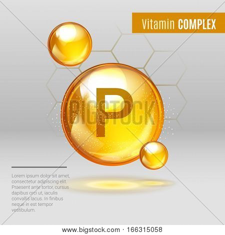 Vitamin P Gold Shining Pill Capcule Icon . Vitamin Complex With Chemical Formula, Flavonoids. Shinin
