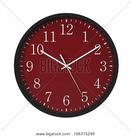 Round Black Office Clock red dial on white background. 3D illustration