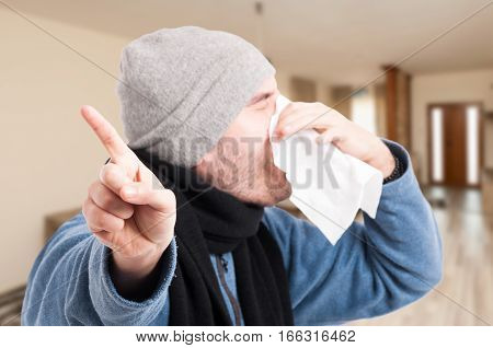 Unhealthy Person Blowing Nose Into Napkin